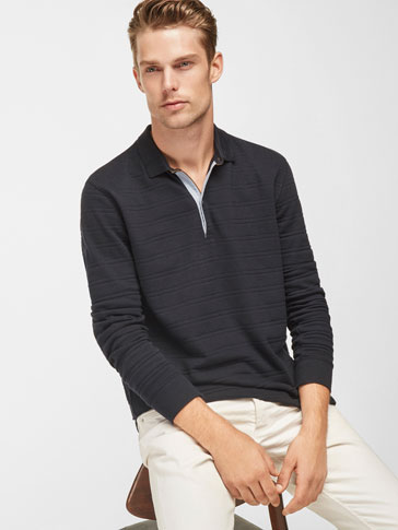 STRIPED TEXTURED POLO SHIRT WITH CONTRAST DETAIL