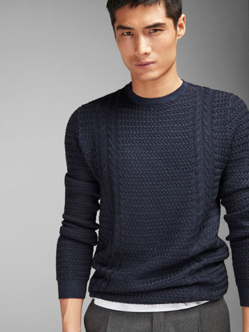 TEXTURED WEAVE CABLE KNIT SWEATER