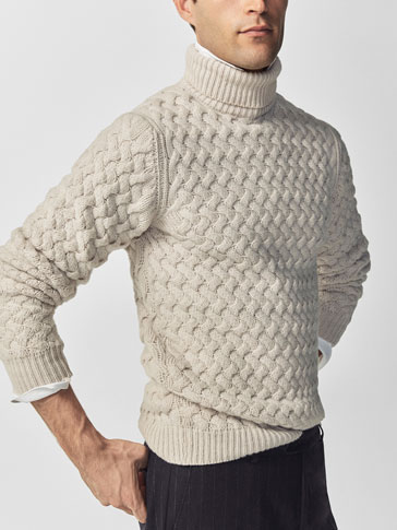 POLO NECK CABLE-KNIT SWEATER