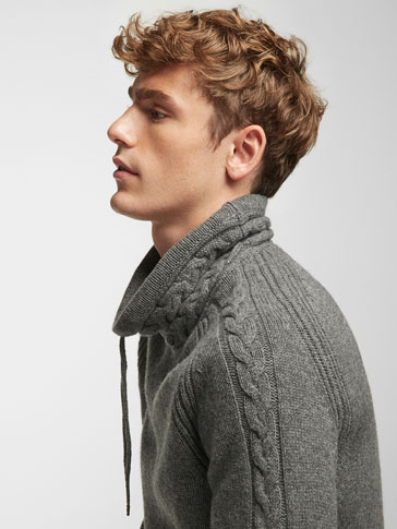 FUNNEL NECK CABLE-KNIT SWEATER