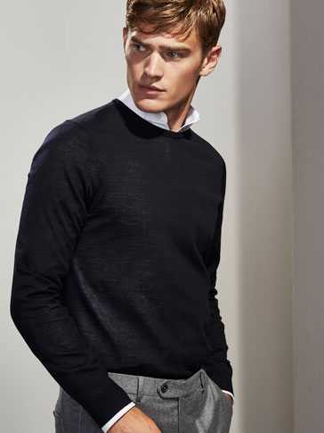 PERSONAL TAILORING 100% MERINO WOOL SWEATER WITH ROUND NECK