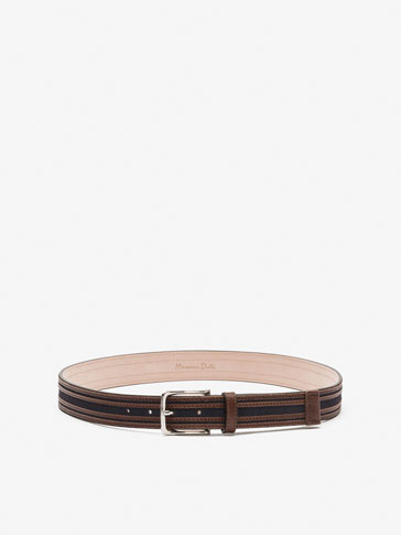 SPLIT SUEDE LEATHER BELT WITH LEATHER STRAPS