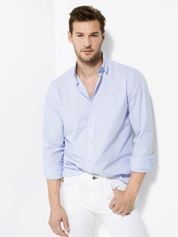 SLIM-FIT SKY BLUE STRIPED SHIRT WITH ELBOW PATCHES