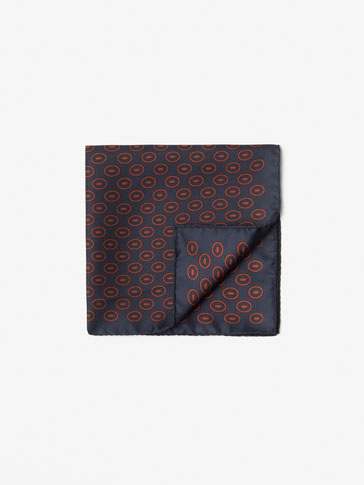 SILK CIRCULAR PATTERN POCKET SQUARE