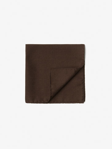 WOOL/SILK PLAIN POCKET SQUARE