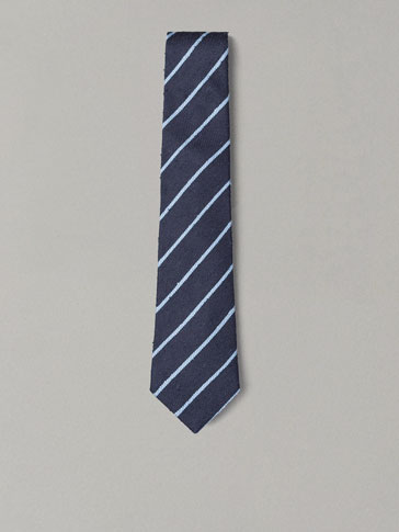PERSONAL TAILORING SKY BLUE STRIPED RUSTIC TIE