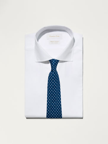 LINEN TIE WITH POLKA DOTS