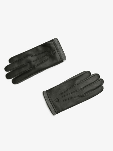 BLACK LEATHER GLOVES WITH RIBBED DETAIL