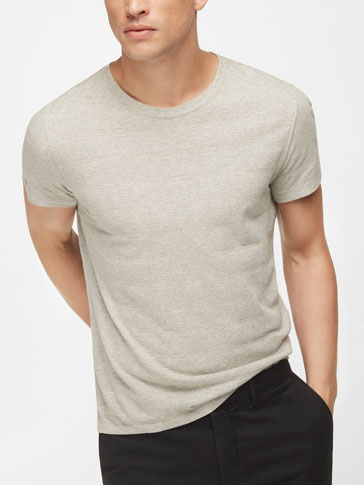 TEXTURED STRIPES T-SHIRT