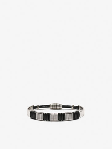 METAL BRACELET WITH BLACK LEATHER DETAIL