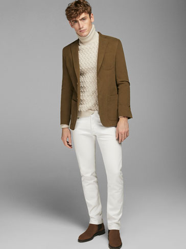 TWILL BLAZER WITH ELBOW PATCHES