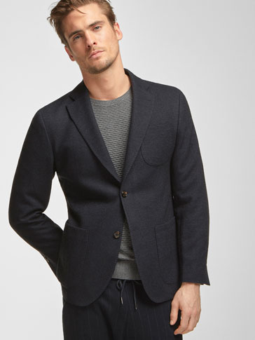 TEXTURED WOOL BLAZER