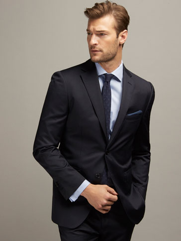 REGULAR FIT TEXTURED WEAVE WOOL SUIT BLAZER