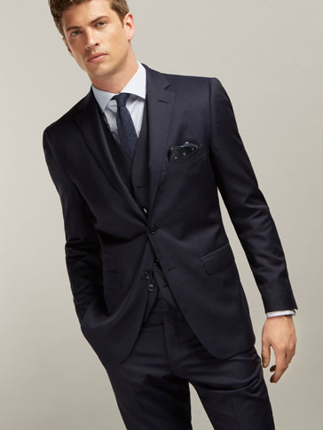 SLIM FIT WOOL MICROFIBRE SUIT BLAZER