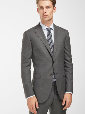 SLIM FIT WOOL NEEDLECORD SUIT BLAZER