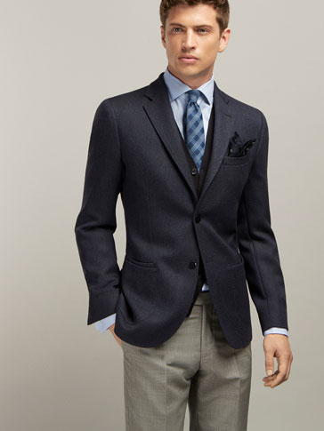 NAVY TEXTURED WEAVE WOOL JACKET