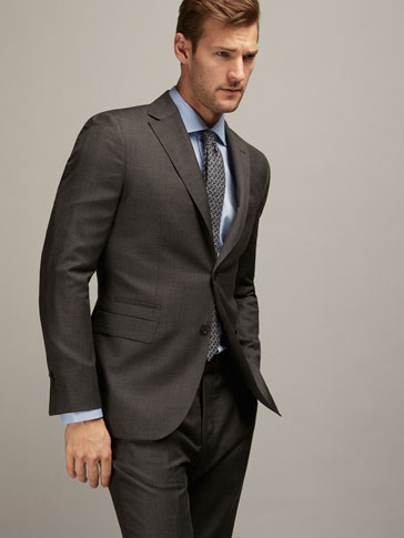 SLIM FIT WOOL TEXTURED WEAVE SUIT BLAZER