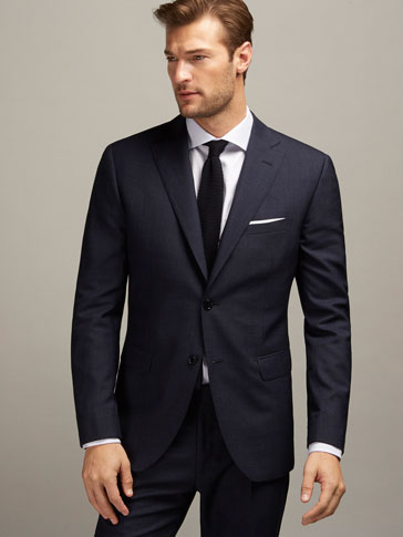 SLIM FIT FALSE PLAIN WOOL SUIT BLAZER