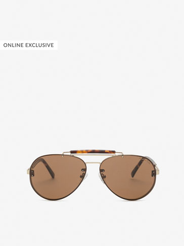 TORTOISESHELL DETAIL AVIATOR SUNGLASSES