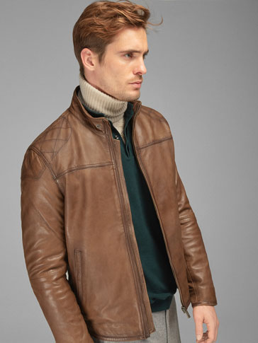 BROWN TOPSTITCHED NAPPA JACKET