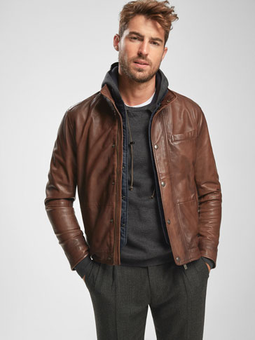 BROWN NAPPA JACKET WITH DETACHABLE LINING