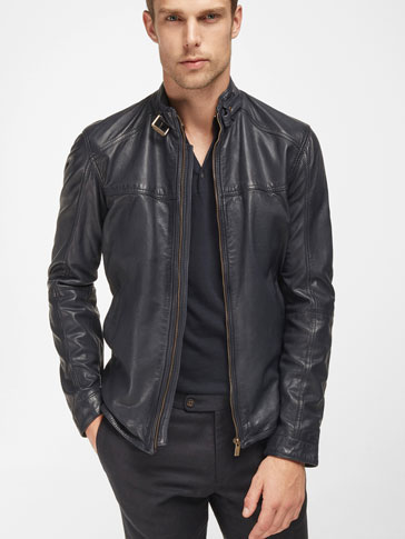 BLUE NAPPA LEATHER JACKET