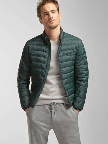GREEN FEATHER DOWN JACKET