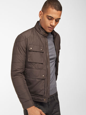 BROWN QUILTED TECHNICAL JACKET