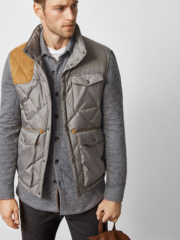 LIMITED EDITION TECHNICAL GILET WITH A SUEDE DETAIL