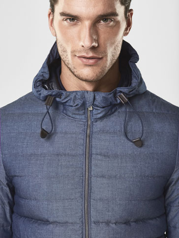 SOFT INDIGO QUILTED FEATHER DOWN JACKET