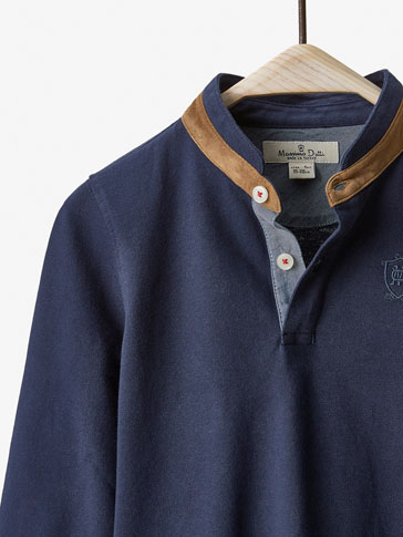 POLO SHIRT WITH EMBROIDERED CREST DETAIL