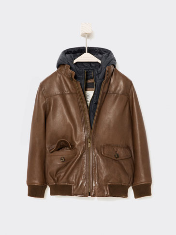 LEATHER BOMBER JACKET WITH DETACHABLE HOOD