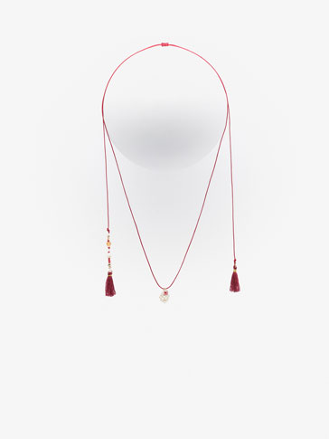 RED DOUBLE BEADS AND POMPOM NECKLACE