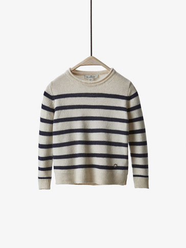 KNIT NAVY STRIPE SWEATER