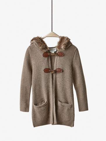 CAMEL KNIT DUFFLE COAT
