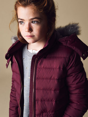QUILTED MAROON FEATHER DOWN JACKET