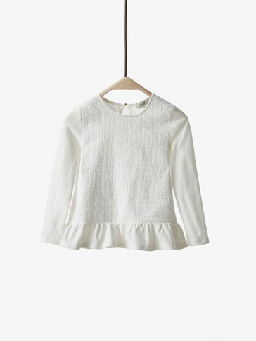 TEXTURED T-SHIRT WITH FRILL