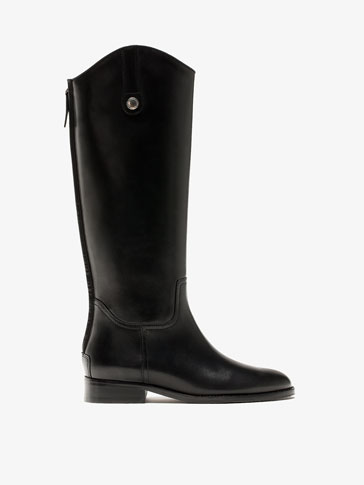 BLACK LEATHER BOOTS WITH ZIP