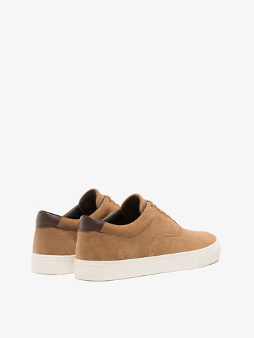 TAN SPLIT SUEDE LEATHER SNEAKERS