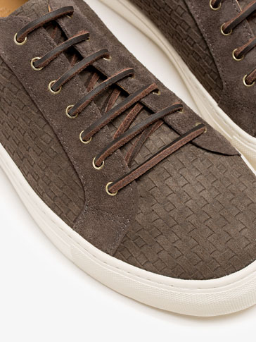 GREY EMBOSSED SPLIT SUEDE SNEAKERS