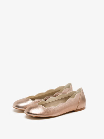 PINK LAMINATED LEATHER BALLERINAS