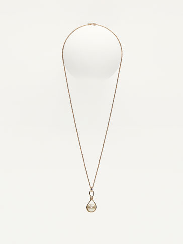 KNOTTED NECKLACE WITH FAUX PEARL DETAIL