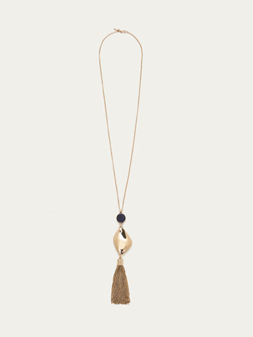 NECKLACE WITH GOLD-TONED PENDANT AND TASSEL