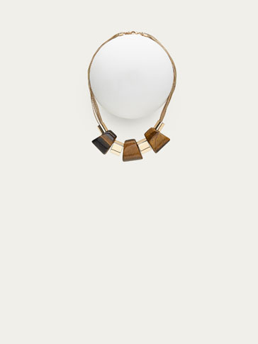 NECKLACE WITH TIGER'S EYE AND TRAPEZOID DETAILS