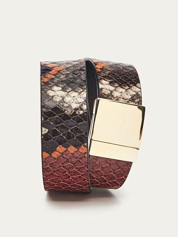 LEATHER ARM CUFF WITH FAUX SNAKESKIN FINISH