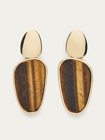 EARRINGS WITH TIGER'S EYE AND PIECE DETAILS
