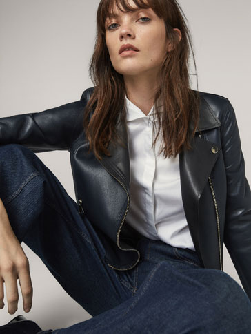 TWO-TONE NAPPA BIKER JACKET