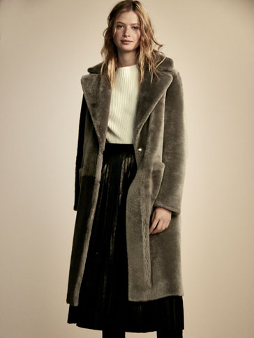REVERSIBLE GREY MOUTON COAT