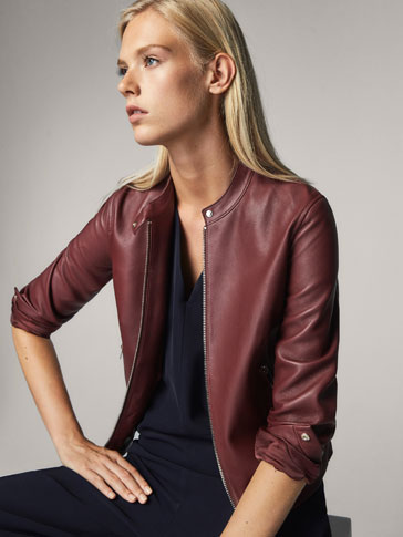 LEATHER JACKET WITH SNAP DETAIL