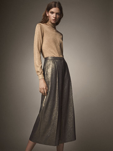 CULOTTE FIT LAMINATED TROUSERS